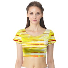 Yellow Curves Background Short Sleeve Crop Top (Tight Fit)