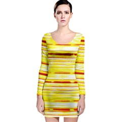 Yellow Curves Background Long Sleeve Bodycon Dress