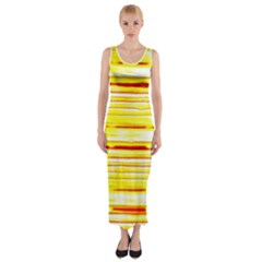 Yellow Curves Background Fitted Maxi Dress