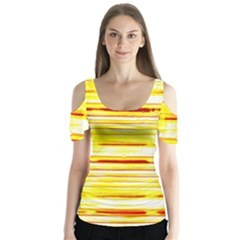 Yellow Curves Background Butterfly Sleeve Cutout Tee