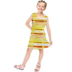 Yellow Curves Background Kids  Tunic Dress
