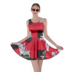 Red Black Gray Background Skater Dress