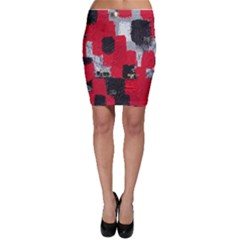 Red Black Gray Background Bodycon Skirt