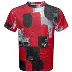 Red Black Gray Background Men s Cotton Tee