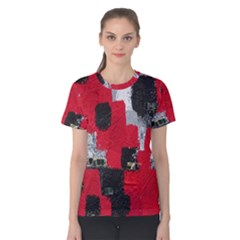 Red Black Gray Background Women s Cotton Tee