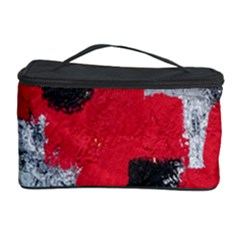 Red Black Gray Background Cosmetic Storage Case