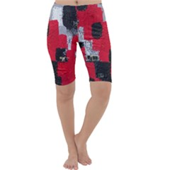 Red Black Gray Background Cropped Leggings