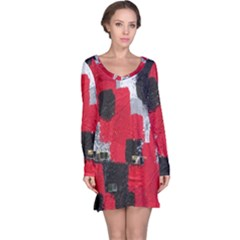 Red Black Gray Background Long Sleeve Nightdress