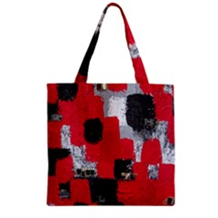 Red Black Gray Background Zipper Grocery Tote Bag