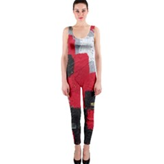 Red Black Gray Background OnePiece Catsuit