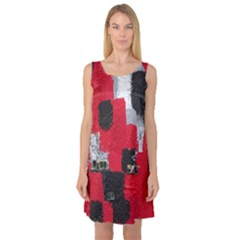 Red Black Gray Background Sleeveless Satin Nightdress
