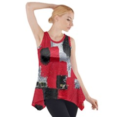 Red Black Gray Background Side Drop Tank Tunic