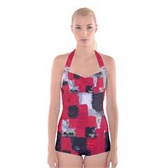 Red Black Gray Background Boyleg Halter Swimsuit