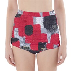 Red Black Gray Background High Waisted Bikini Bottoms