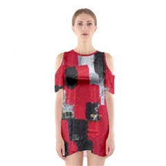 Red Black Gray Background Shoulder Cutout One Piece