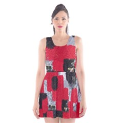 Red Black Gray Background Scoop Neck Skater Dress