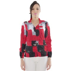 Red Black Gray Background Wind Breaker (women)