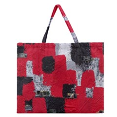 Red Black Gray Background Zipper Large Tote Bag