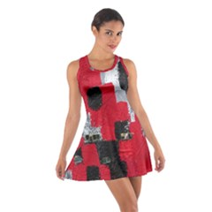Red Black Gray Background Cotton Racerback Dress