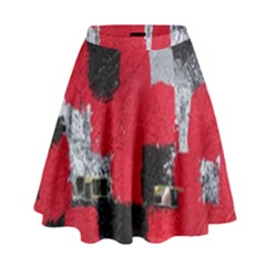 Red Black Gray Background High Waist Skirt