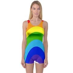 Rainbow One Piece Boyleg Swimsuit