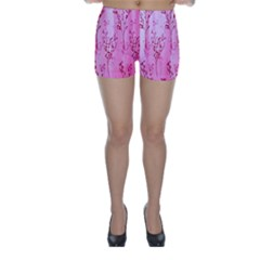 Pink Curtains Background Skinny Shorts