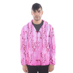 Pink Curtains Background Hooded Wind Breaker (men)