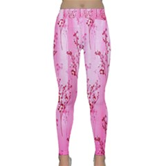 Pink Curtains Background Classic Yoga Leggings