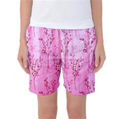 Pink Curtains Background Women s Basketball Shorts
