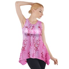 Pink Curtains Background Side Drop Tank Tunic
