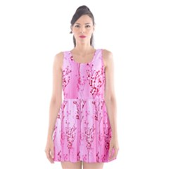 Pink Curtains Background Scoop Neck Skater Dress