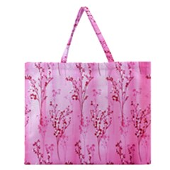 Pink Curtains Background Zipper Large Tote Bag