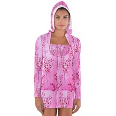 Pink Curtains Background Women s Long Sleeve Hooded T Shirt