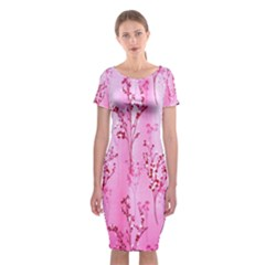 Pink Curtains Background Classic Short Sleeve Midi Dress
