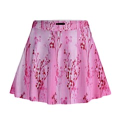 Pink Curtains Background Mini Flare Skirt