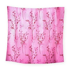 Pink Curtains Background Square Tapestry (large)