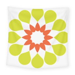 Tikiwiki Abstract Element Flower Star Red Green Square Tapestry (large)