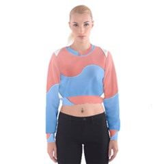 Taekwondo Sign Red Blue Women s Cropped Sweatshirt