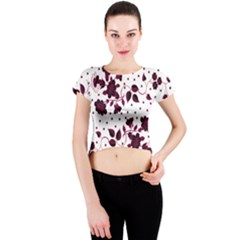 Floral Pattern Crew Neck Crop Top