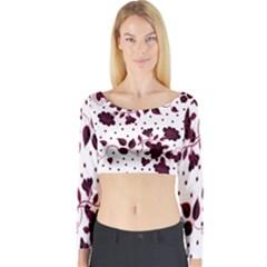 Floral Pattern Long Sleeve Crop Top