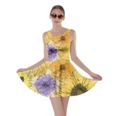 Multi Flower Line Drawing Skater Dress