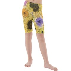 Multi Flower Line Drawing Kids  Mid Length Swim Shorts