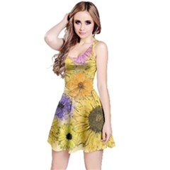 Multi Flower Line Drawing Reversible Sleeveless Dress