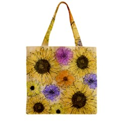 Multi Flower Line Drawing Zipper Grocery Tote Bag