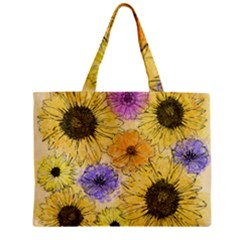 Multi Flower Line Drawing Zipper Mini Tote Bag