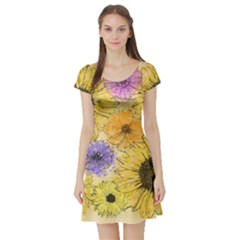 Multi Flower Line Drawing Short Sleeve Skater Dress