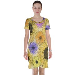Multi Flower Line Drawing Short Sleeve Nightdress