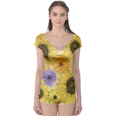 Multi Flower Line Drawing Boyleg Leotard