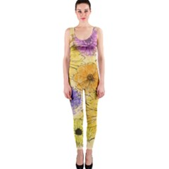 Multi Flower Line Drawing OnePiece Catsuit