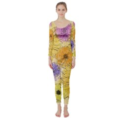 Multi Flower Line Drawing Long Sleeve Catsuit